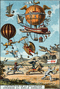 Utopian Flying Machines 19th Century Print by Science Source