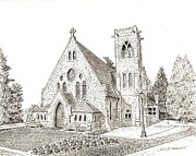 Pen And Ink Drawing Prints - UVA Chapel Print by John Hopson
