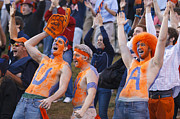Yelling Prints - UVA Football Fans Body Paint Cheering Print by Jason O Watson