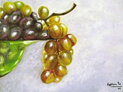 Blue Grapes Mixed Media Prints - Uva Print by Kathleen Pio