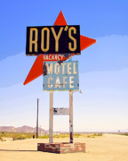 Roy Framed Prints - VACANCY Route 66 Framed Print by William Dey