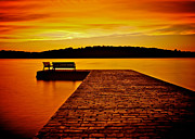 Stone Bench Framed Prints - Vacant Sunset Framed Print by Mark Miller