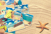 Beach Towel Prints - Vacation Postcards Print by Christopher and Amanda Elwell