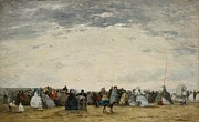 Grey Clouds Painting Framed Prints - Vacationers on the Beach at Trouville Framed Print by Eugene Louis Boudin