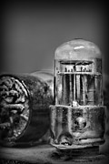 Old Radio Posters - Vacuum Tube - black and white Poster by Paul Ward