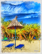 Travel Paintings - Vai beach Creta by George Rossidis