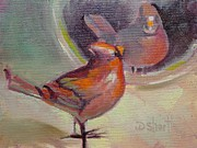 Donna Shortt Painting Metal Prints - Vain Cardinal Metal Print by Donna Shortt