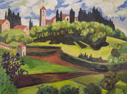 Italian Landscape Painting Originals - Val di Barbarosa Italy by Doris  Lane Grey