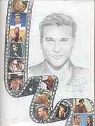 Clip Drawings Prints - Val Kilmer-Film Clip Print by Anne Provost