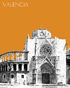 Valencia Skyline Valencia Cathedral - Dark Orange Print by DB Artist