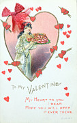 Wwi Drawings - Valentine Card by English School