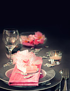 Mythja Posters - Valentine day romantic table setting Poster by Mythja  Photography