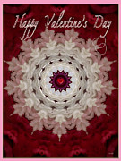 Puppy Mixed Media - Valentine Frill Female Card by Debra     Vatalaro