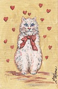 Kitten Posters - Valentine Kitty One Poster by Linda Mears