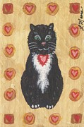 Black Cat Art - Valentine Kitty Two by Linda Mears