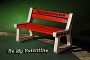 Candy Digital Art - Valentine Red Bench by Thomas Woolworth