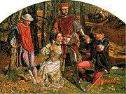 Rescuing Prints - Valentine Rescuing Sylvia from Proteus Print by William Holman Hunt