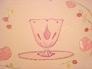 Set Pastels Posters - Valentine Teacup Poster by Christine Corretti
