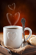 Coaster Framed Prints - Valentines Day Coffee Framed Print by Christopher and Amanda Elwell
