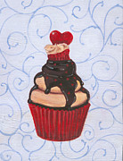 Black Diet Paintings - Valentines Day Cupcake by Marco Sivieri