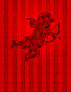 Valentines Day Digital Art - Valentines Day Cupid with Pattern Hearts on Wallpaper Background by JPLDesigns