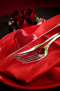 Banquet Prints - Valentines day dinner Print by Mythja  Photography