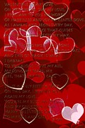 All Occasion Card Mixed Media - Valentines Day Love Hearts by Debra     Vatalaro