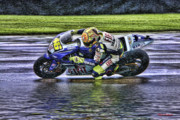Blake Richards Framed Prints - Valentino Rossi at Indy Framed Print by Blake Richards