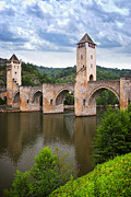 Historical Sight Prints - Valentre bridge in Cahors France Print by Elena Elisseeva