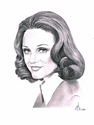 Graphite Framed Prints - Valerie Harper Framed Print by Murphy Elliott