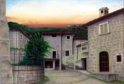 Tuscan Sunset Painting Originals - Vallecchia de Monte Calvo by Albert Puskaric