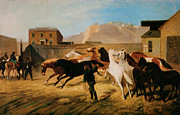 Herd Of Horses Paintings - Vallejo Street Wharf by William Hahn