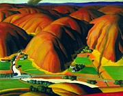 Wpa Prints Prints - Valley  Farms Print by Pg Reproductions