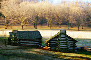 Log Cabins Art - Valley Forge Cabins by Bill Cannon