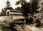 Montgomery Prints - Valley Forge Covered Bridge circa 1900 Print by Digital Reproductions