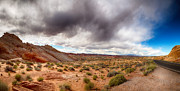 Scenic Drive Prints - Valley of Fire with dramatic sky Print by Jane Rix