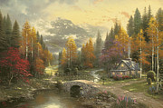 Mountain Cabin Painting Framed Prints - Valley of Peace Framed Print by Thomas Kinkade