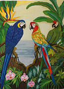 Parrot Tapestries - Textiles Metal Prints - Valley of the Wings hand embroidery Metal Print by To-Tam Gerwe