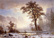 Snow-covered Landscape Painting Posters - Valley of the Yosemite Snow Fall Poster by Albert Bierstadt