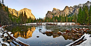 Jamie Pham Metal Prints - Vally View Panorama - Yosemite Valley. Metal Print by Jamie Pham