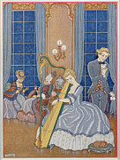 Indoor Painting Prints - Valmont Seducing his Victim Print by Georges Barbier