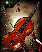 Syrah Paintings - Valpoli-Cello Wine Art Painting by Leanne Laine