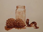 Pine Cones Originals - Value Study in Umber by Heidi E  Nelson