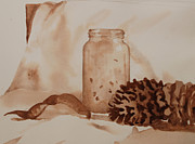Pine Cones Originals - Value study in Umber II by Heidi E  Nelson