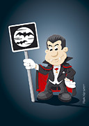 Ramspott Prints - Vampire Cartoon Man Bat Moon Sign Print by Frank Ramspott