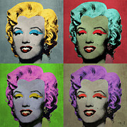 Dracula Digital Art Metal Prints - Vampire Marilyn set of 4 Metal Print by Filippo B