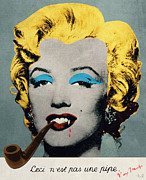 Dracula Digital Art Metal Prints - Vampire Marilyn with surreal pipe Metal Print by Filippo B