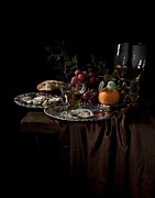 Heem Art - Van Beijeren -Still Life with Roemer-Silverware and oysters by Levin Rodriguez