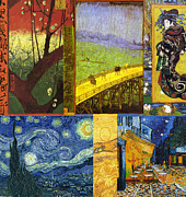 Night Cafe Digital Art Framed Prints - Van Gogh Collage Framed Print by Philip Ralley