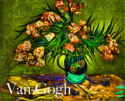 Oleanders Framed Prints - Van-Gogh Oleanders Framed Print by Carlos Diaz